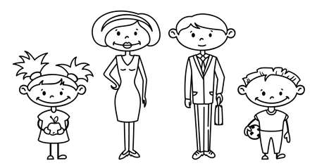 family icon: Cute doodle family set Illustration