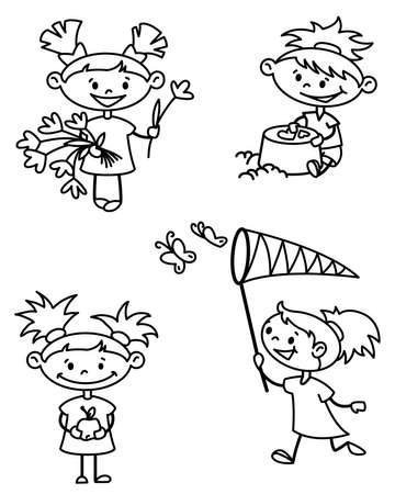 Set with cute girl caracter, doodle version Vector