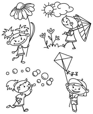 버전: Set with cute girl caracter, doodle version