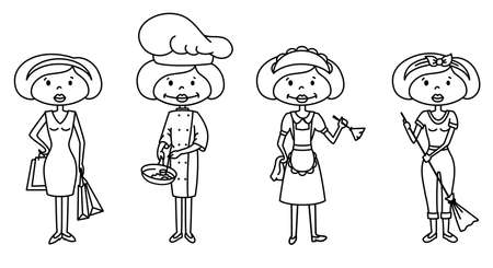Housewife doing shopping, cooking, cleaning Vector