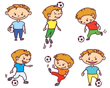 Footballer (soccer player) set, color version Vector