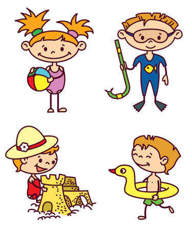Set of cute summer children (color version) Vector