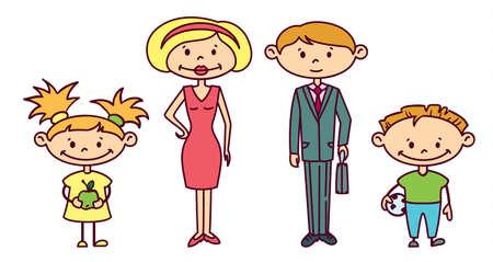 marido y mujer: Doodle linda familia establece (versi�n en color) Vectores