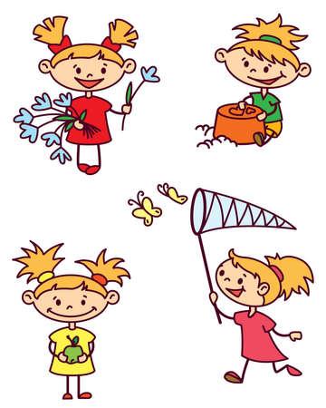 gevangen: Instellen met cute girl caracter, kleurenversie Stock Illustratie