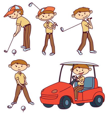 Cute doodle Golf players set Ilustração