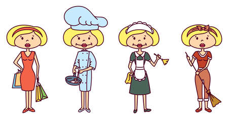 Housewife doing shopping, cooking, cleaning (color version) Vector