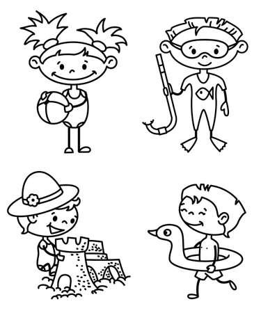Conjunto de niños lindo verano (versión en color) Ilustración de vector