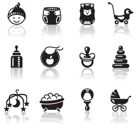 nappy: Set of minimalistic baby icons