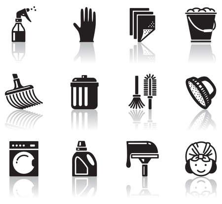vacuuming: Set di icone di pulizie minimaliste  Vettoriali