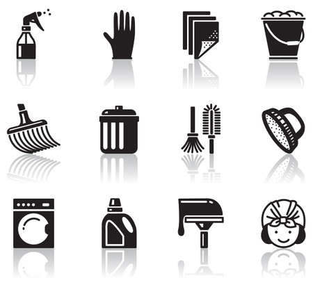 mop: Set of minimalistic cleaning icons  Illustration
