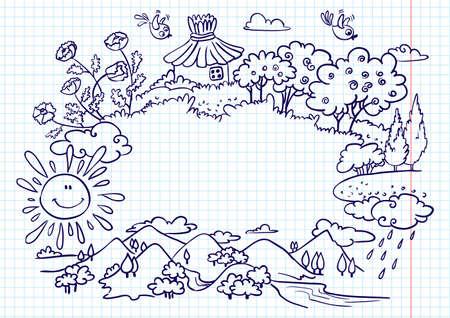 버전: Cute summer frame (doodle version)