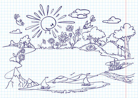 Cute summer frame (doodle version) Stock Vector - 9233579
