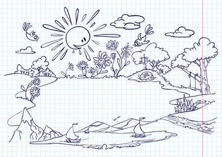mountain meadow: Marco de verano lindo (doodle versi�n)