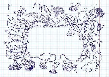 Cute landscape summer frame (doodle version)  Vector