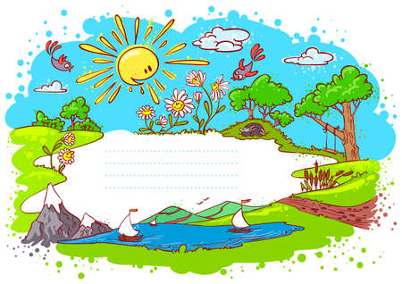 Cute summer frame (color version) Stock Vector - 9455762