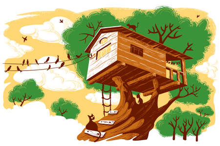 rope ladder: Treehouse ilustraci�n