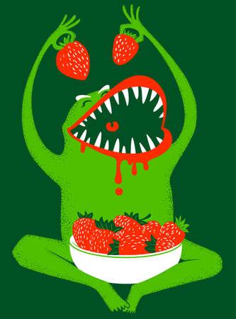 animated alien: Strawbery monster Illustration