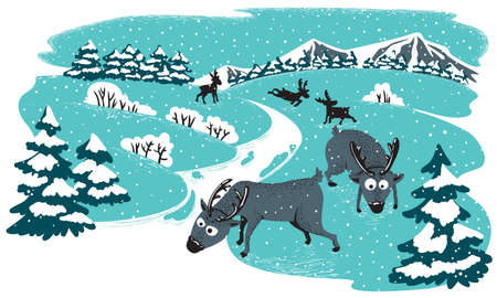 Winter landscape with deers Stock Vector - 9455706