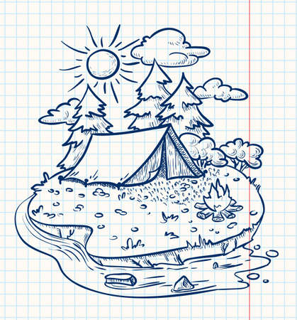 camp fire: Camping landscape (doodle version)