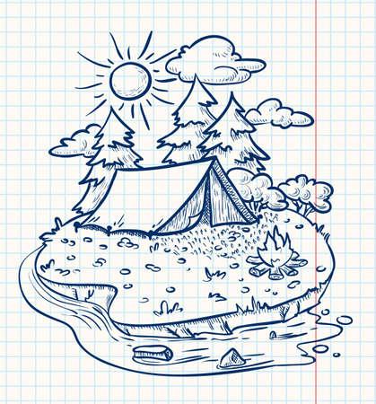 camp de vacances: Camping paysage (doodle version) Illustration