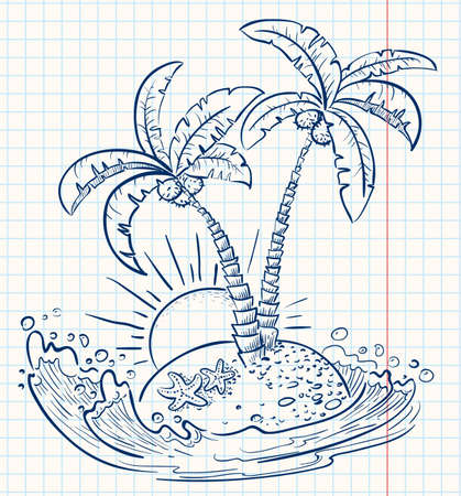 coconut palm: Tropical cute island (doodle version)