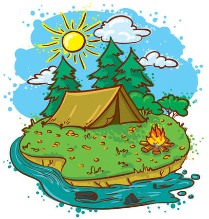 bonfire: Camping landscape (color version) Illustration
