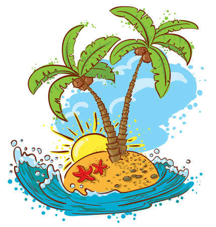 Cute tropical island (color version) Vector
