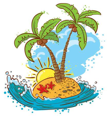 Cute tropical island (color version)