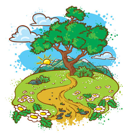 Idyllic summer landscape with tree (color version) Vector