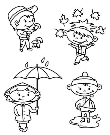 Autumn children set (outline version) Vector