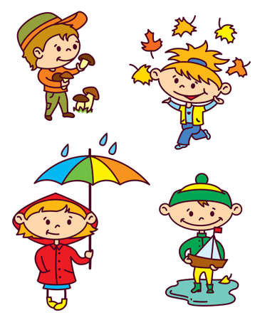 Autumn children set (color version) Vector