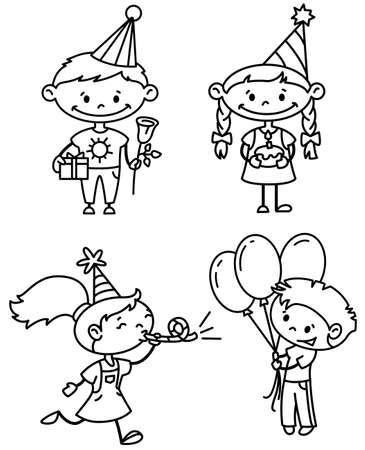 flower age: Children birthday set (outline version) Illustration
