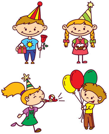 party horn blower: Birthday children set (color version) Illustration