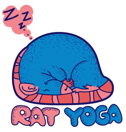 Rat yoga (sleeping cute rat) Vector