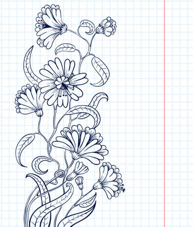 Doodle floral sketchy vector frame Stock Vector - 9931668