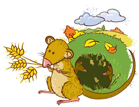 mouse with ears of wheat (color version) Vector