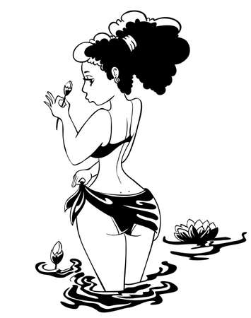 Cute pinup girl with flower Vector