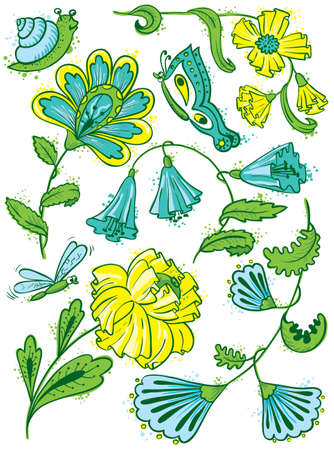 slime: Cute floral set with slime, dragonfly and butterfly Illustration