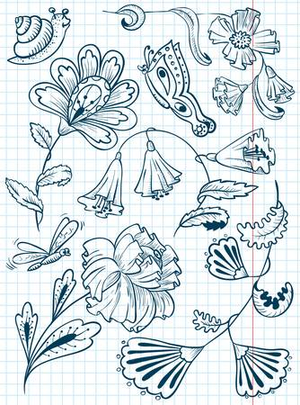 Floral cute abstract doodle set Vector