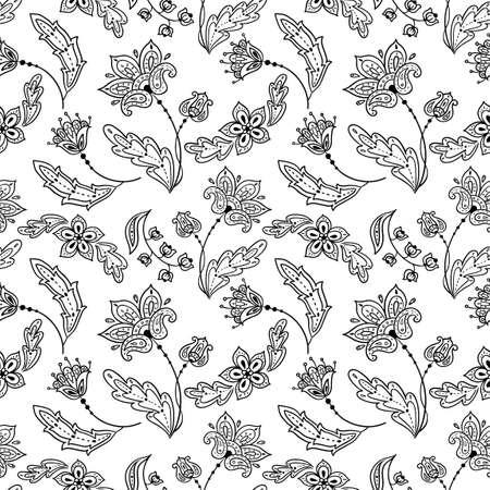 paisley pattern: Floral lineart modèle sans couture