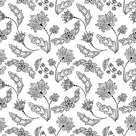 Floral lineart seamless pattern