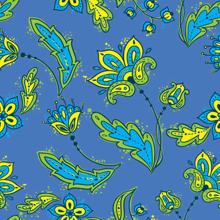 Floral abstract seamless in blue color Vector