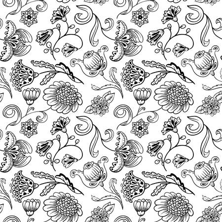 paisley background: Floral black and white seamless pattern