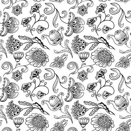 disegni cachemire: Floreale bianco e nero seamless pattern