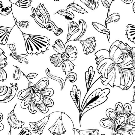 black and white line drawing: Floral black and white seamless pattern