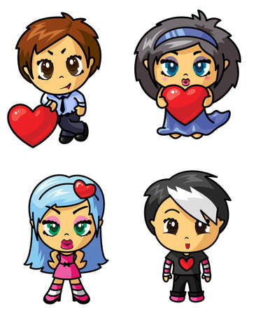 Cute chibi icons set with valentine symbol (part 3) Vector
