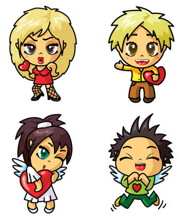asian angel: Cute chibi icons set with valentine symbol (part 2)