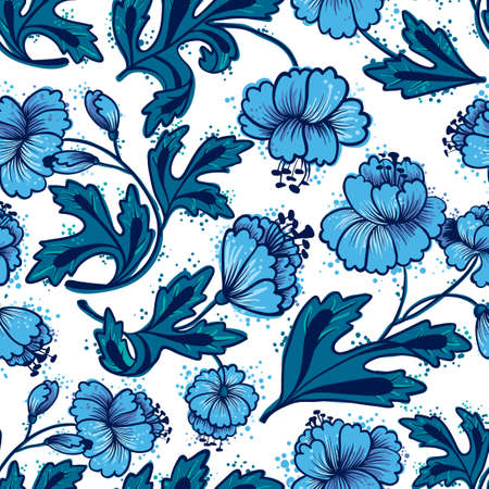 blue flowers: Floral abstract seamless pattern Illustration