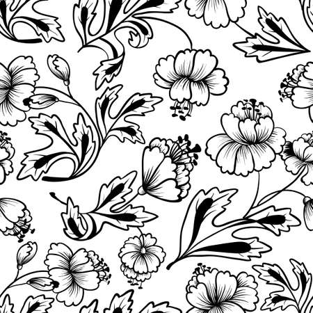 black and white line drawing: Floral line art seamless pattern Illustration