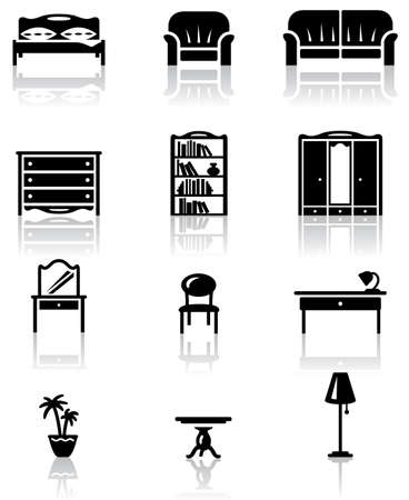 Black and white furniture icons set Stock Vector - 10725926